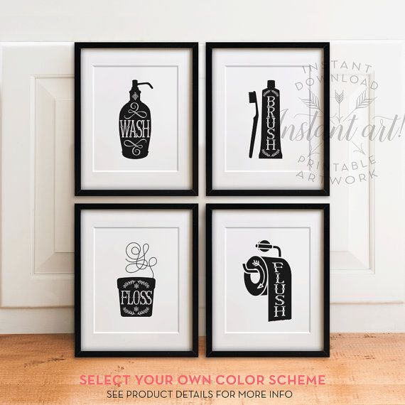 Bathroom art set PRINTABLES Wash brush floss flush bathroom