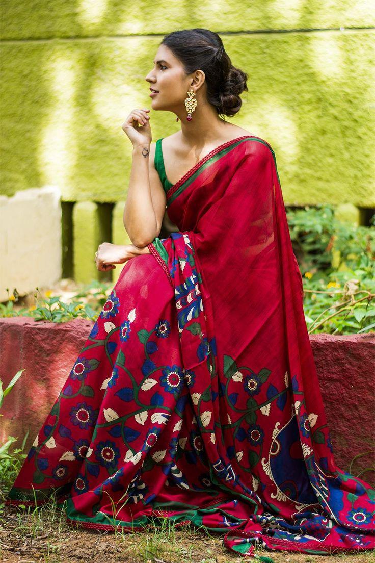 House of Blouse Red Crepe Kalamkari Printed Saree