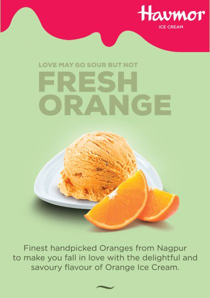 Taste the flavour of the finest Oranges from Nagpur in Fresh Orange Ice cream, our amazing  Flavour Of The Month!