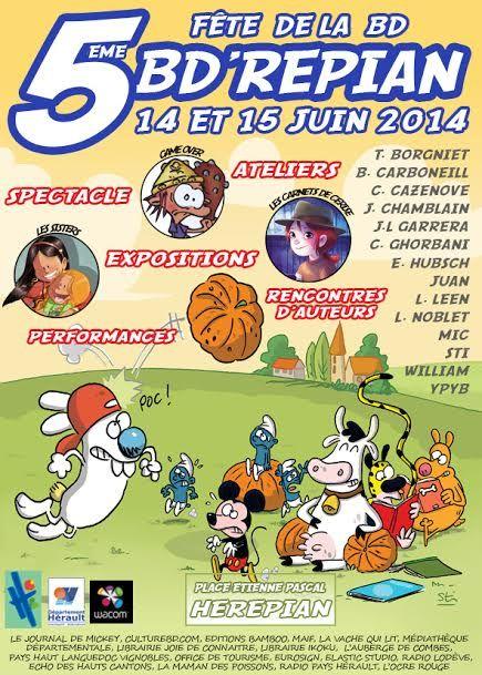 Fête de la BD à Hérépian, c'est du 13 au 15 juin - http://www.ligneclaire.info/herepian-2014-16230.html