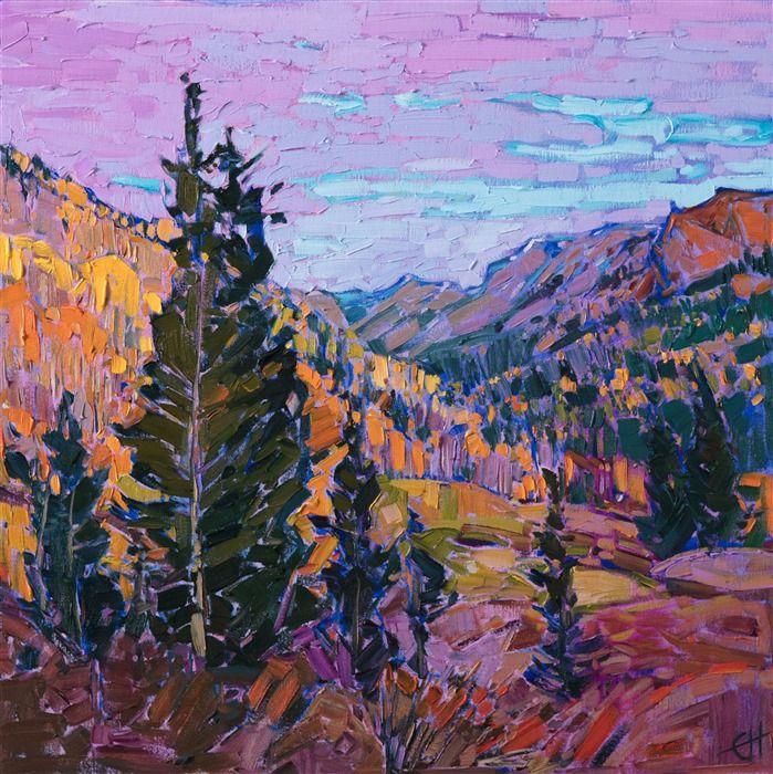 Colorado Mountainside Autumn Colors Oil Painting By American Impressionist Painter Erin Hans Fine Art Prints Artists Landscape Paintings Oil Painting Landscape