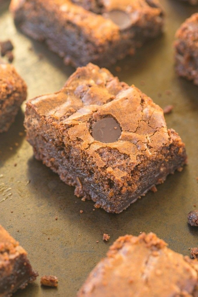 Healthy Four Ingredient Breakfast brownies which are packed with protein and no sugar- They are also flourless, vegan, gluten free, paleo and dairy free!