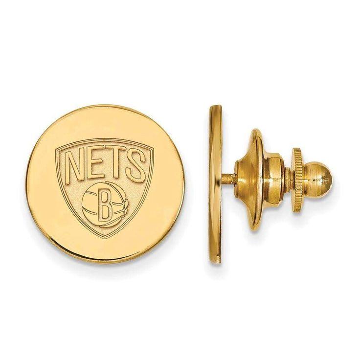 Sterling Silver w/GP NBA LogoArt Brooklyn Nets Lapel Pin