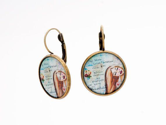 Be Brave Inspirational Earrings Motivational By Ladyarttalk