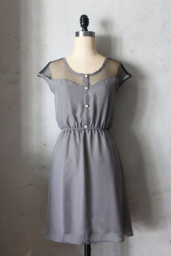 PETIT DEJEUNER GRAY - Grey chiffon dress black lace inset // bridesmaid // little black dress // vintage inspired // party // day // pearls
