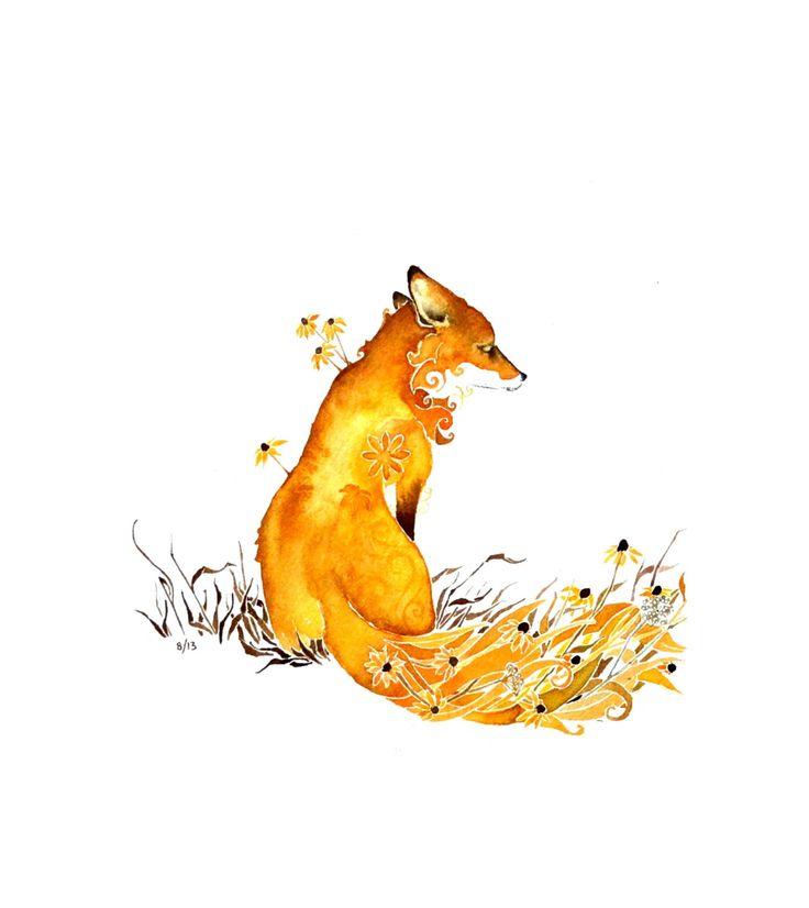 Fox  PRINT of original watercolor painting  8.5 x 11 by Denature, $15.00