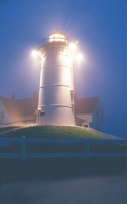 At dusk the lighthouse in Woods Hole, Cape Cod