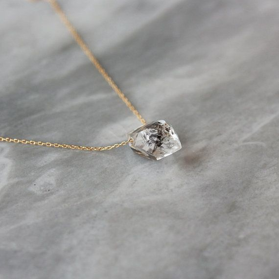 Herkimer Diamond Crystal Point Necklace Black by ShopClementine