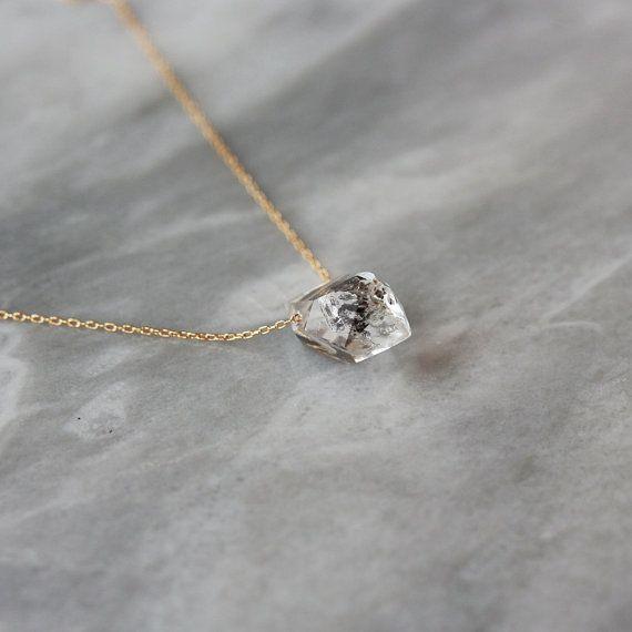 Herkimer Diamond Necklace Raw Stone Crystal by ShopClementine