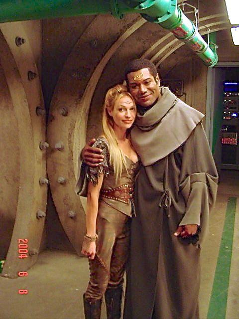 Jolene Blalock (remember her as T'pol on Star Trek Enterprise) and Chris Judge behind the scenes. :)