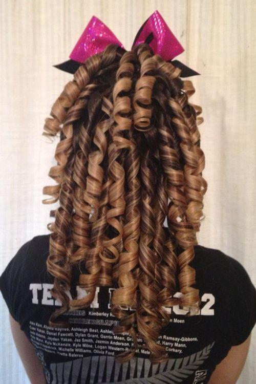 curly hair up cheer hair