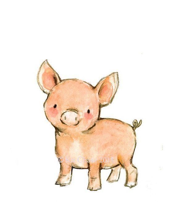 Children's Art Farm Animals SET OF 3 by trafalgarssquare on Etsy
