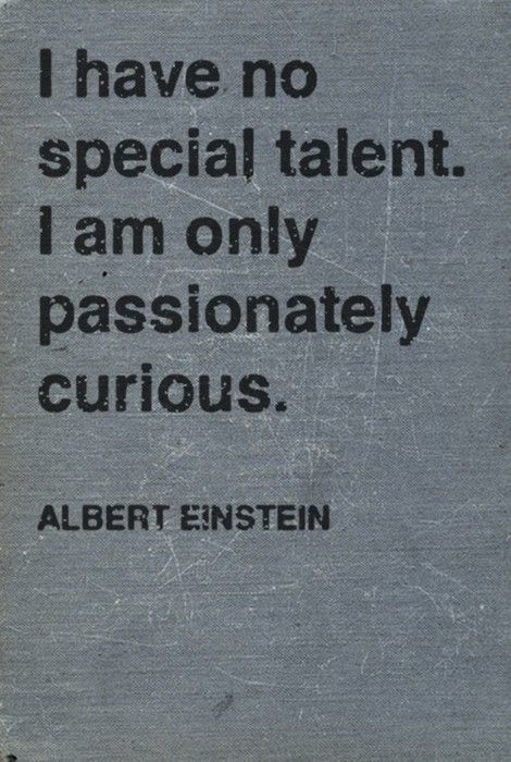 I have no special talent. I am only passionately curious. ~A. Einstein
