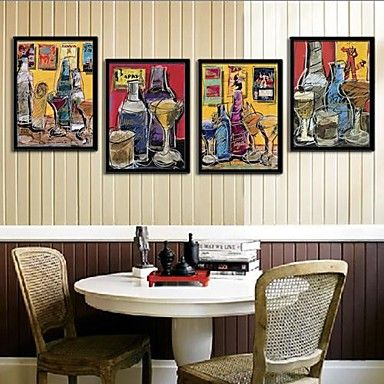 Wine And Wine Glasses Framed Canvas Print Set of  4 – USD $ 77.99