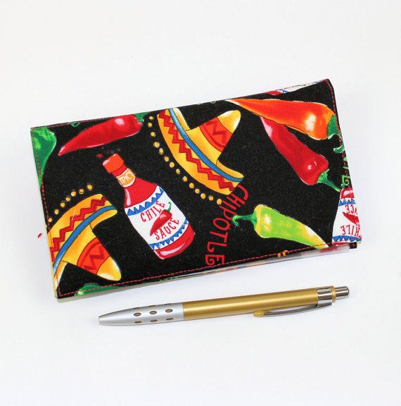 Bright Chile Peppers Checkbook Cover for by QuiltSewCover on Etsy