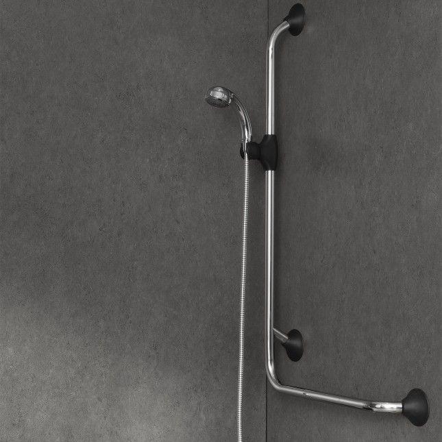 Veilige douchestang met Ergogrip 90° greep rechts is een extra steunpunt in de douche voor staand douchen of opstaan uit bad. Belastbaar tot 150 kg.