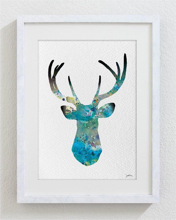 Blue Deer Watercolor Print - 5x7 Archival Print - Deer Painting - Deer Art Print - Wall Decor Art Home Decor Housewares on Etsy, $15.00