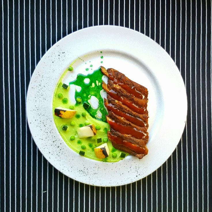 PLATE 2 Rimbs with Mint made by Piotr Pałyska. #plate #abstract #expressionism #gastronomy
