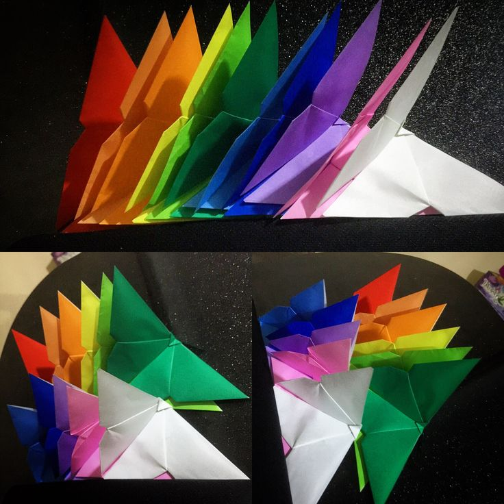 Rainbow origami butterflies made by me