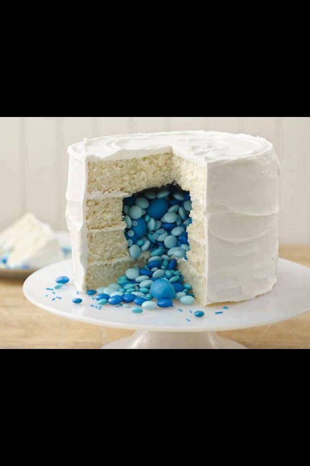 Cool and fun gender secret reveal cake baby shower newborn. Blue boy