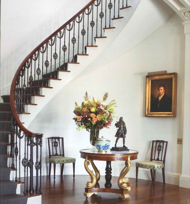 Entry foyer of Drumlin Hall, created as a backdrop for the owners' museum quality collection of Federal-style #furniture