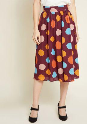 dfdf31e7a Momentous Moxie Midi Skirt in Burgundy Dots | Fun Work Clothes ...