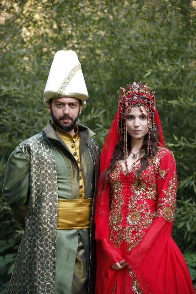 Hatice Sultan's Turkish Red Wedding Dress (gorgeous beaded headdress w/ red chiffon veil) more views chlick through to link --  (Magnificent Century)