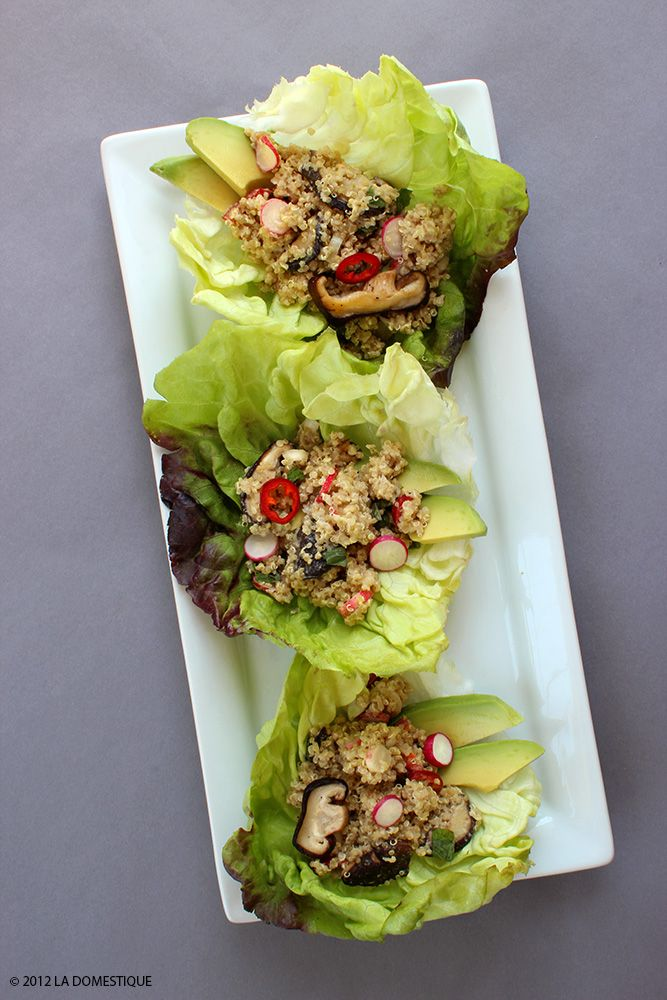 Summer Lettuce Wraps with Quinoa, Avocado, Mushrooms and Tahini Sauce by la Domestique