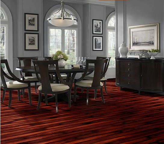A Dining Room With Vintners Reserve Laminate And Gray Wallswhat Color Would You Pair This Rich Flooring