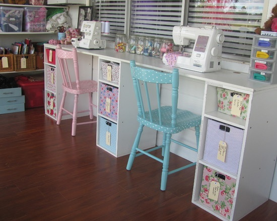 Craft Room Desk: Super Cute Sewing Table!! Polka Dot Chairs!!