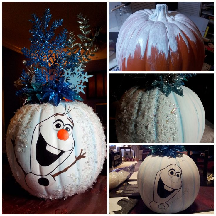 "Finished my ""Frozen"" themed pumpkin for the kids at Arnold Palmer Children's Hospital in Orlando, FL! Hoping it helps to make their Halloween special! #frozen #Halloween #pumpkin"