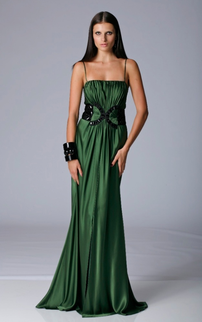 Emerald green charmeuse dress by Marc Bouwer
