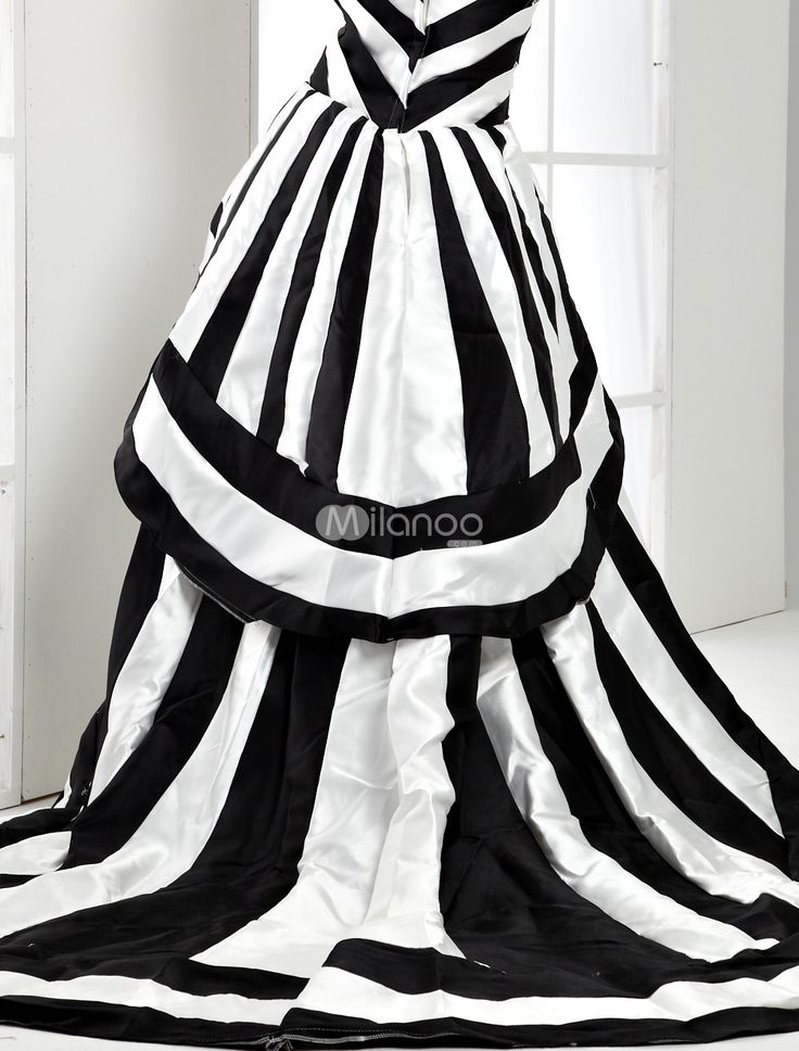 Black & white striped dress...great for a Tim Burton/Halloween party/wedding