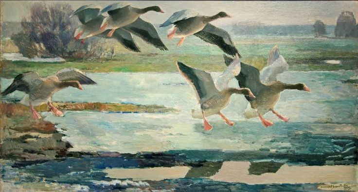 """Wild ducks"" 1929,  Lennart Segerstråle, UPM-Kymmene Cultural Foundation Collections - In Äyräpää Swan main migration is the greatest experiences.Their song echoes all the villages of the lak,e day and night.Mixed with a huge goose flock humming,blowing kumeat bittern,marsh hens grunt and Spotted Crake whiooe slams In the sky with flying long-tailed ducks and black birds with long ribbons on the way to Lake Ladoga and the Gulf of Finland to the Russian tundra. Lake Äyräpää is ornithologist…"