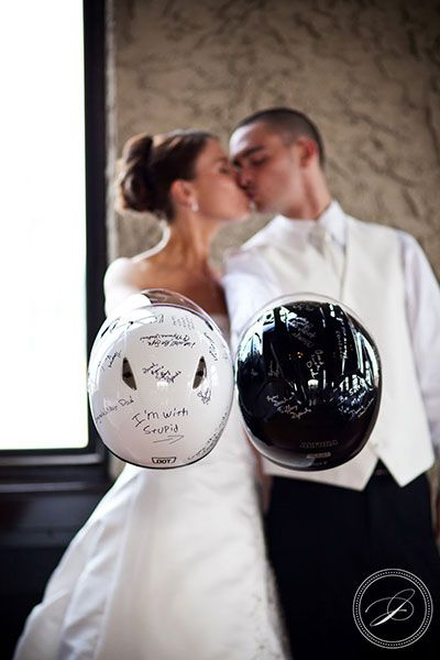 Need for speed: Have your wedding guests sign your motorcycle helmets!