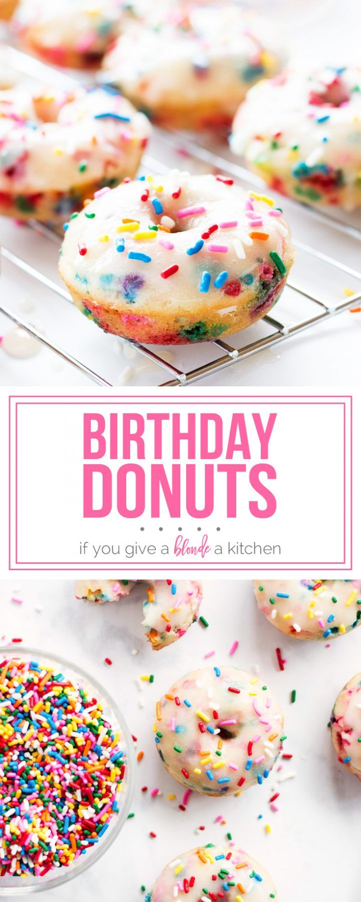 Birthday donuts are filled with funfetti sprinkles and topped with a sugary glaze. | www.ifyougiveablondeakitchen.com