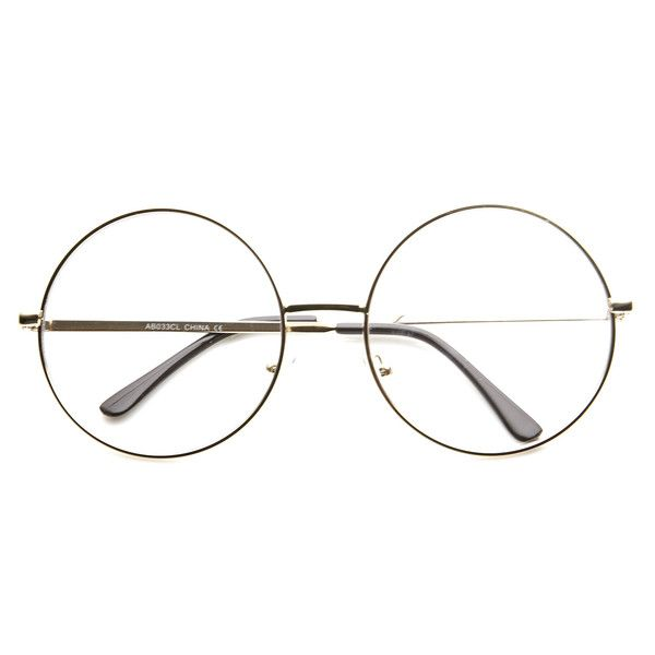 Large oversize round circular glasses that features a metal frame and clear lenses. Round glasses are the very definition of an oversize metal circle frame.