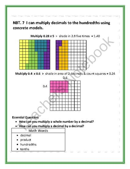 Multiplying Decimals with Models from TammyHarold-Ferguson on TeachersNotebook.com -  (12 pages)  - Multiplying Decimals with Models in an interactive game that gives students practice using a 100 grid model to illustrate how to multiply decimals to whole numbers and multiply decimals to decimals.