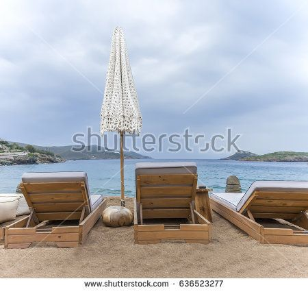 On the Beach . Beautiful scenic scene on a beach in Greece.