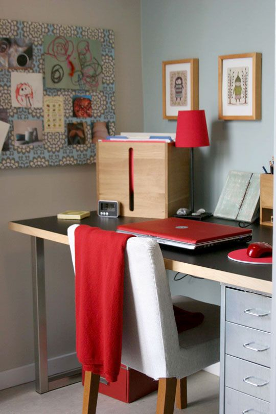 Roomark:  Kathryn's Tiny Home Office - gray with red accents