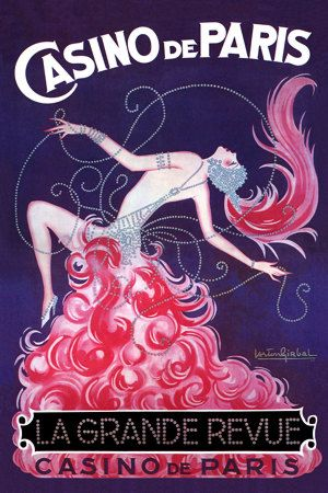 Casino de Paris La Grande Revue Dancer Showgirl by Girbal Vintage Poster Print