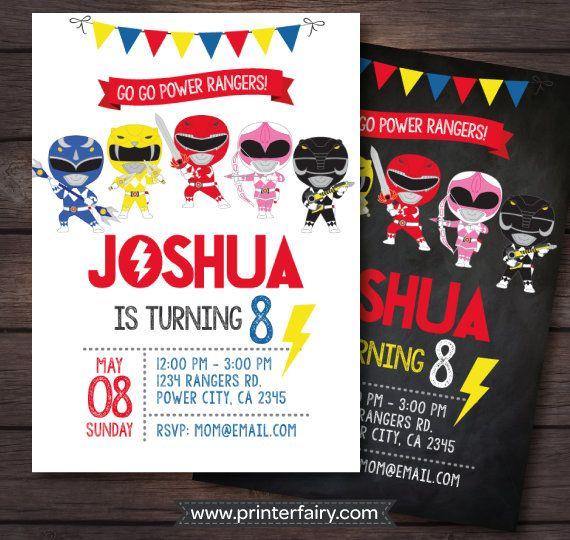 Power Ranger Invitations Power Rangers Birthday by PrinterFairy