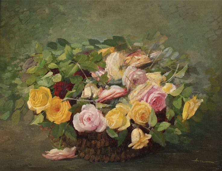 Coş cu trandafiri - Nicolae I. Angelescu / 1869, București - 1916 - ulei pe pânză, - 56 × 71 cm