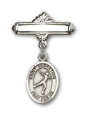Sterling Silver Baby Badge with St. Sebastian/Figure Skating Charm and Polished Badge Pin Needzo Religious. $49.50. Made in the USA - Lifetime guarantee against tarnish. St. Sebastian/Figure Skating. Christian Patron Saint Medal Pendant Necklace. 1 X 5/8 inch Polished Badge Pin Patron Sports. Patron of. Save 16%!