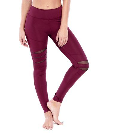 b1d412402f Electric Yoga | Burgundy Mesh-Accent High-Waist - Women | ATHLEISURE ...