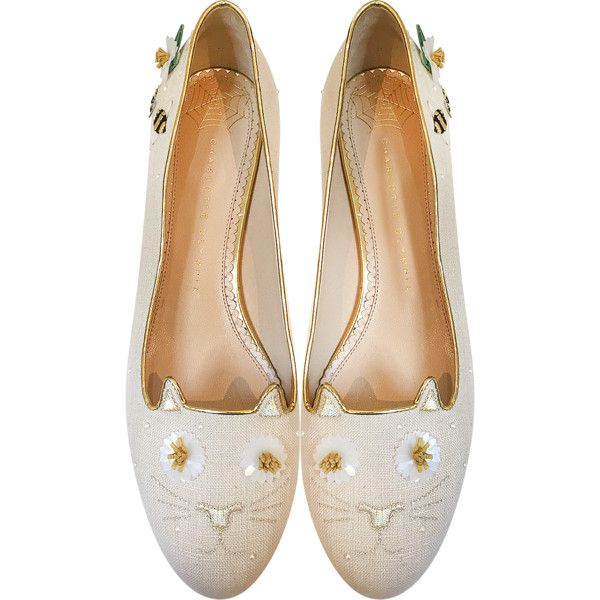 Charlotte Olympia Shoes Floral Natural Linen Kitty Flats (10.715 ARS) ❤ liked on Polyvore featuring shoes, flats, beige, embroidered flats, floral flat shoes, round toe flats, floral shoes and beige flat shoes