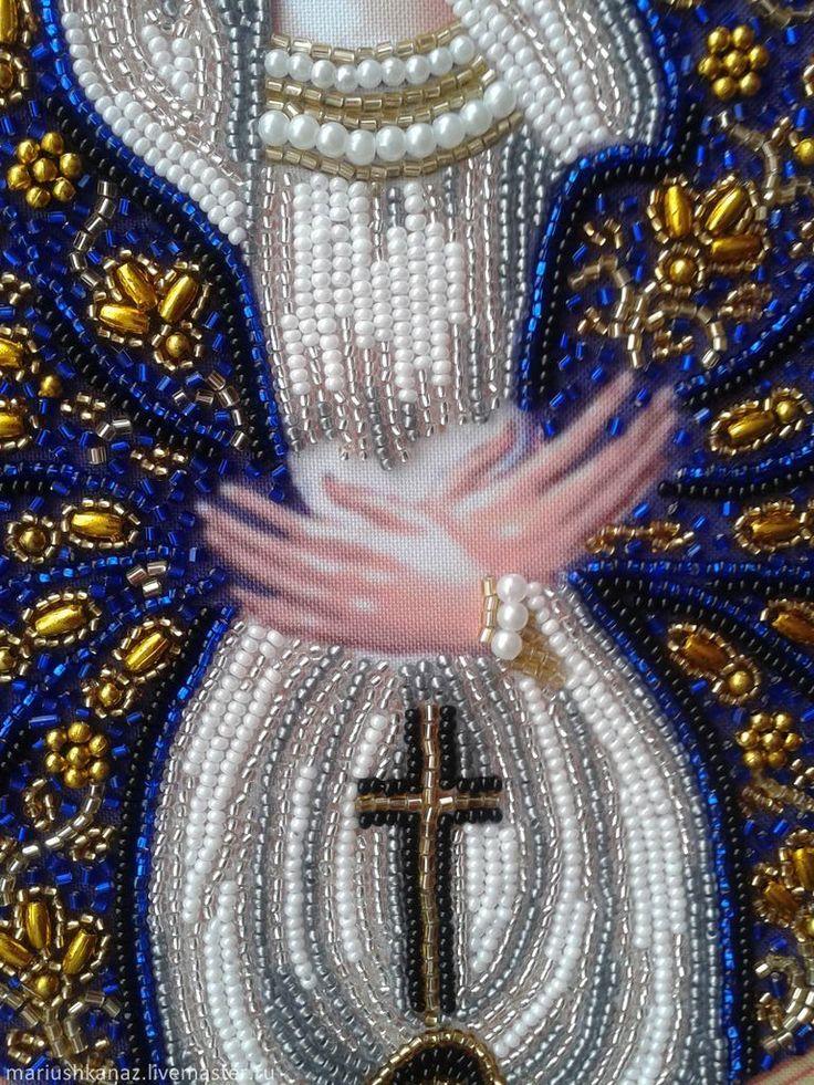 """икона Богородица Остробрамская от набора производителя """" Изящное рукоделие""""."""