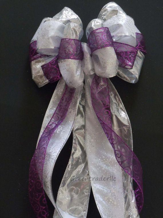 Silver White Purple Winter Wedding Pew Bows by greentraderllc,