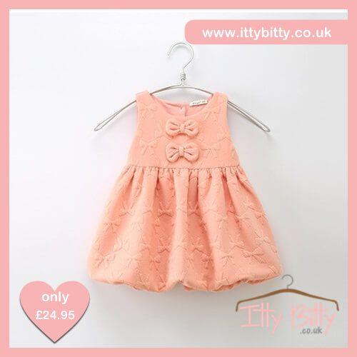 Itty Bitty Pink Bow Autumn Baggy Dress https://www.ittybitty.co.uk/product/itty-bitty-pink-bow-autumn-baggy-dress/ #dresses #summer