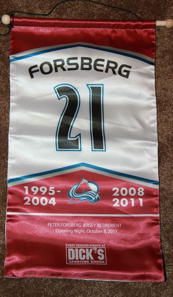 Peter Forsberg Colorado Avalanche Retirement Banner